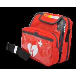Sacoche rouge de transport pour défibrillateur Schiller Fred Easy