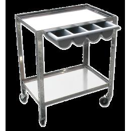 Chariot de soin avec tiroir Gima (2 plateaux) - inox