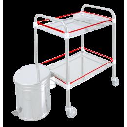 Barres de protection pour chariot Lancart (2 plateaux) - inox