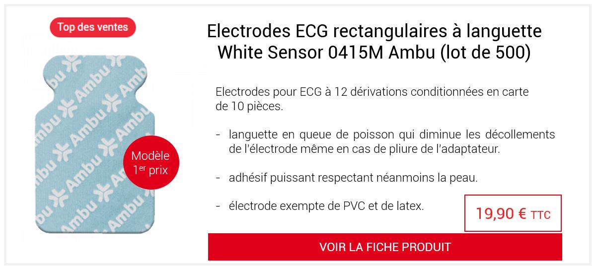 Electrodes ECG rectangulaires à languette White Sensor 0415M Ambu (lot de 500)